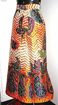 Psychedelic Maxi Skirt true vintage hippy Festival Paisley multi-color Quilted