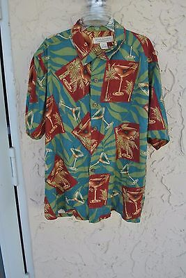 Men's Tommy Bahama Martini Glass and Palm Tree Short Sleeve Silk Shirt, Size M