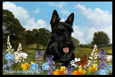 Indoor/Outdoor Summer Floor Mat - Black Scottish Terrier Scottie (TB) 39043