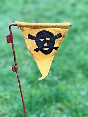 Ww2 German Dak Wehrmacht Mine Marker Flag & Pole Original, Rare.