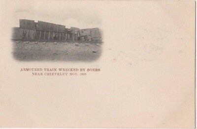 Armoured Train Wrecked by Boers Chieveley 1899 Boer War Early UB Postcard, B745