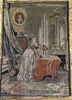 """Antique Tapestry SIGNED BALLY? BAILLY? 1791 Mother/Child Piano Music 18x13"""" appr"""