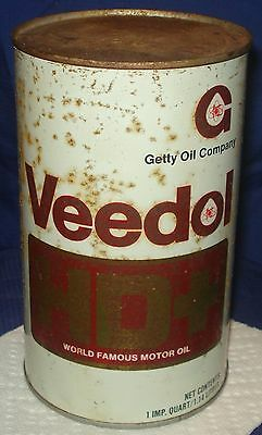 BH169 Vtg Veedol Motor Getty Oil Co Tin Can 1 Qt HD+