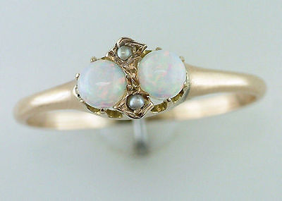 Vintage Antique Opal & Pearl 14K Yellow Gold Victorian Cocktail Ring