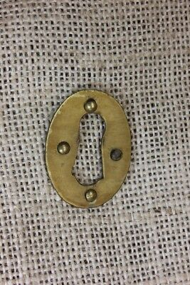 "oval Keyhole skeleton key Lock Escutcheon plate old brass 1 3/8"" vintage 1800's"