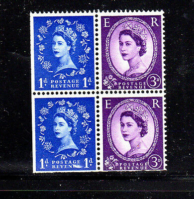 GREAT BRITAIN #354f  B/P OF 4 (CONTAINS 2-1D, 2-3d)  MINT  VF NH  O.G