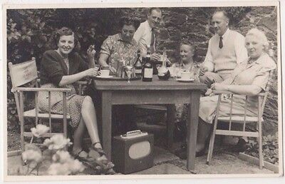 Family with Old Radio, Captain A.S. Highley RASC , Horne Totnes RP Postcard B745