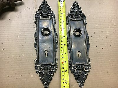 "2 fancy stamped brass door back plates - clean 11"" h x 3"" w poss. Never used"