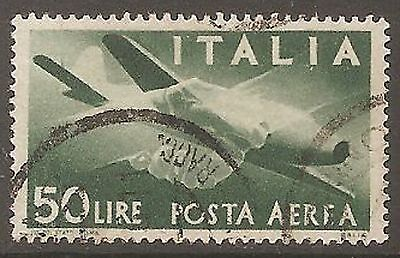 1946 Italy Air 50l Deep Green SG 677 Used (Cat £22)