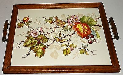 Rare VICTORIAN Antique HAND PAINTED Porcelain PLAQUE~WOOD FRAMED as SERVING TRAY