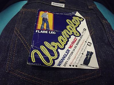 Vintage New Old Stock Wrangler Flare Leg Jeans Men 28 X 32 1960's With Tags
