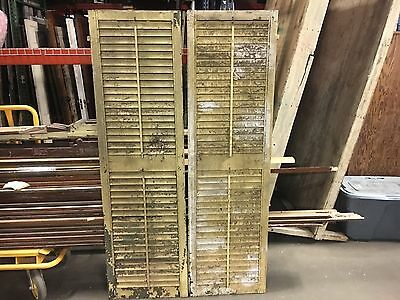 "GREAT pair victorian louver house window shutters old yellow paint 69.5"" x 20"""