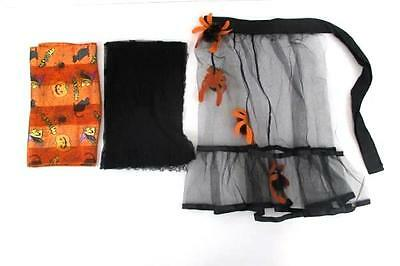 Mixed Lot of 3 Halloween Scarf Black Waist Apron with Spiders Black Lace Scarf