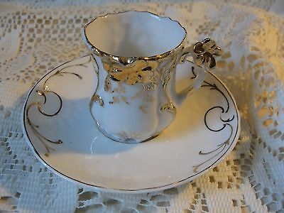 Antique Bone China Teacup and Saucer Smaller Set White & Gilded Trim Gold