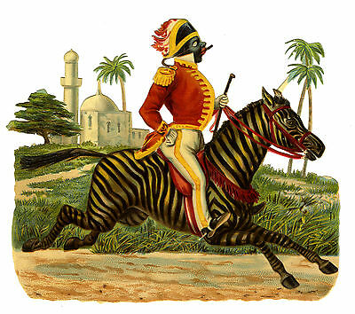 c1890 VICTORIAN DIE-CUT ALBUM SCRAP ~ AFRICAN GENT IN UNIFORM RIDING A ZEBRA VGC