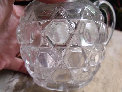 Lovely Old Antique Clear Thick Glass Syrup Pitcher With Geometric Pattern