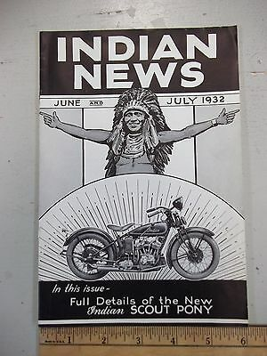 Original ~  Indian News ~ June July 1932 (New Scout Pony) Motorcycles