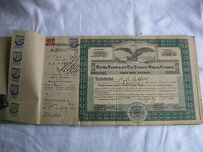 1933 Stock Certificate Book 48 *8 Cancelled/40 Unused Florida Laundry Tax Stamps