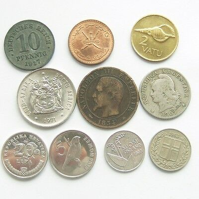Job Lot of 10 World Coins from 1854 : All Different Countries * Freepost * (03)