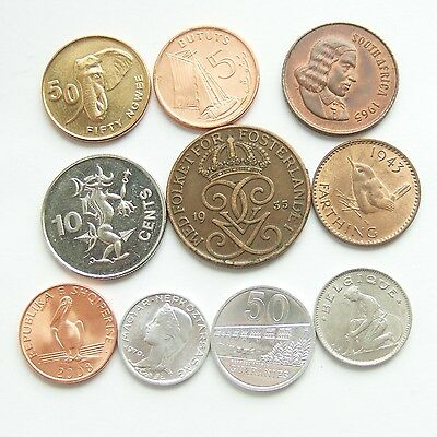 Job Lot of 10 World Coins from 1928 : All Different Countries * Freepost * (06)