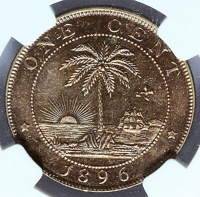 1896-H Liberia 1 One Cent Bronze Coin - NGC MS 64 RB - KM# 5