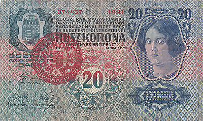 20 Korona Banknote With A Contemporary Fake Stamp From Hungary 1920!!r!!