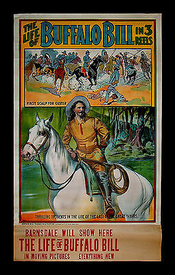 1912 ☆ THE LIFE OF BUFFALO BILL IN 3 REELS ☆MINT☆ MOVIE POSTER and FILM PROGRAM!