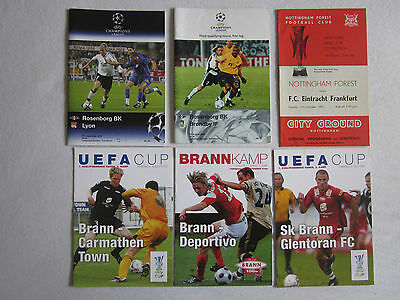 6 x Mixed European Cups programmes Norway Spain Denmark France Wales Germany