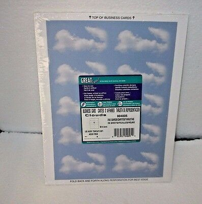 250 'Clouds' Business Card Stock Paper by Great Papers ~ New