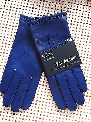BNWT Exquisite M&S COLLECTION Ladies Soft BLUE FINE LEATHER GLOVES SMALL £18