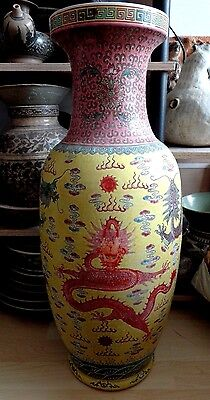 Large Antique  Chinese Famille Juan Dragon Designed Floor Vase  24 Inches  2