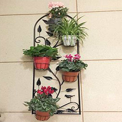 Black Iron Wall-hanging Pergola with 5 Hanging Baskets Size A