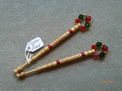 Lacemaking Lace Bobbins Pair Copper Beech