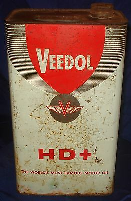 BH156 Vtg Veedol Motor Oil Tin Can HD+ 1 Gal w/ Handle