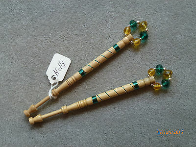 Lacemaking Lace Bobbins Pair Holly