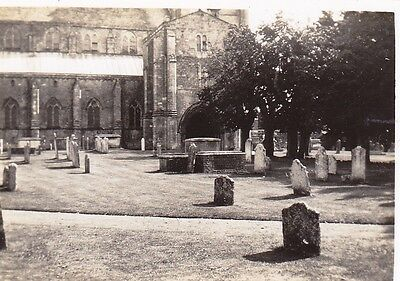 Vintage Old Photo Tombstones Graveyard Unknown Church 1930's