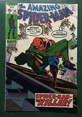 The Amazing Spider-Man #90 Marvel Comics 1970 FN/VF Death Of Captain Stacy