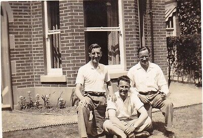 Vintage Photo Three Men Shirts Cigarette Pipe Smoking In Garden By House 1930's