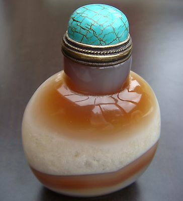 Snuff Bottle, Snuffbottle, Masterpiece, Bandachat Kristall, China, Feng Shui