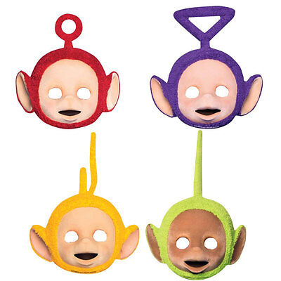 4 Teletubbies Card Face Masks Birthday Fancy Dress Costume Girls Party Boys