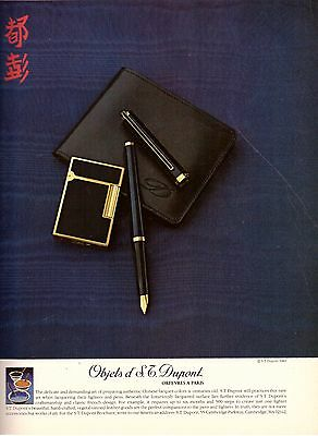 1980 S.T. Dupont Chinese Lighter Pen Print Ad Vintage Advertisement VTG 80s