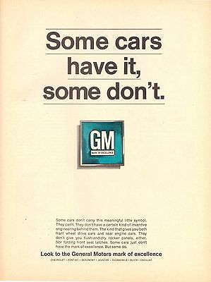 1967 GM General Motors Car Automobile Print Advertisement Ad Vintage VTG 60s