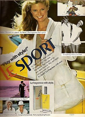 1979 Coty Le Sport Sac Christie Brinkley Print Advertisement Ad Vintage VTG 70s