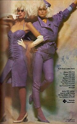 1985 Cindy Crawford North Beach Leather Print Ad Vintage Advertisement VTG 80s