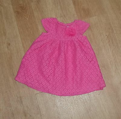 EARLY DAYS Baby Girls Pink Lacey Dress with Flower 0-3 months