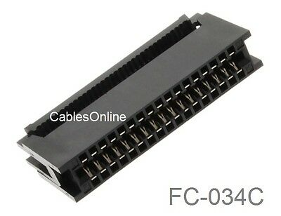 34-Pin Card Edge Female IDC Connector for 2.54mm Pitch Flat Ribbon Cable