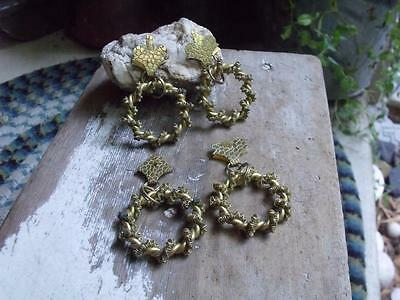 4 Fancy Antique Victorian Blind Pulls Gold Finished With Brass