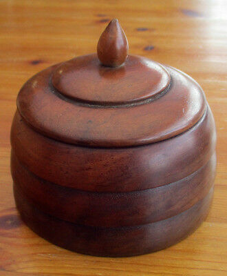 Stunning Antique / Vintage Round Wooden Mahogany Beehive Shaped Lidded Pot