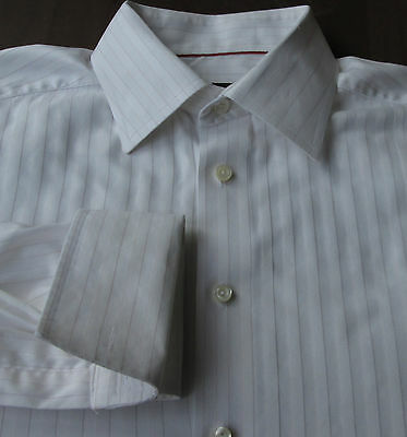 Eton Contemporary Fit cream color & red Pinstripes cotton dress shirt Sz 16 (41)