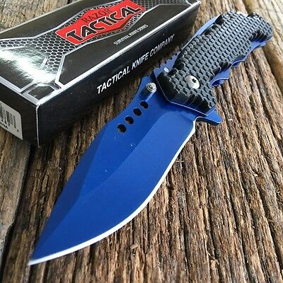 """8"""" BLUE RAZOR BOWIE Spring Assisted Open TACTICAL Pocket Knife NEW -S"""